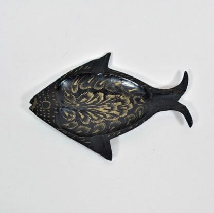 Brass and black fish ashtray