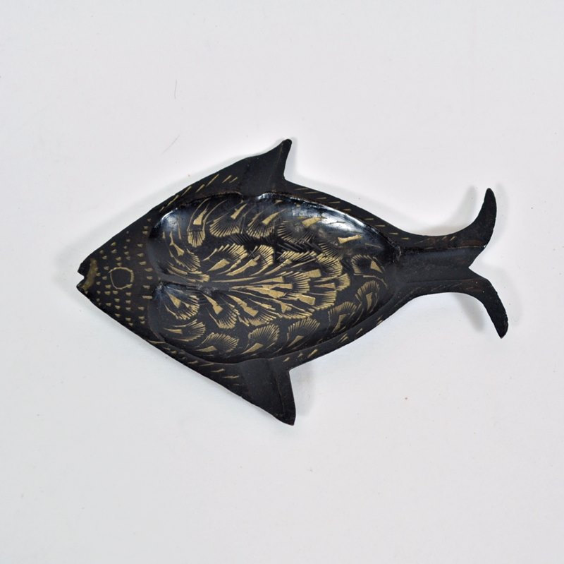 Small Fish Ashtray – Brass and Black Etched