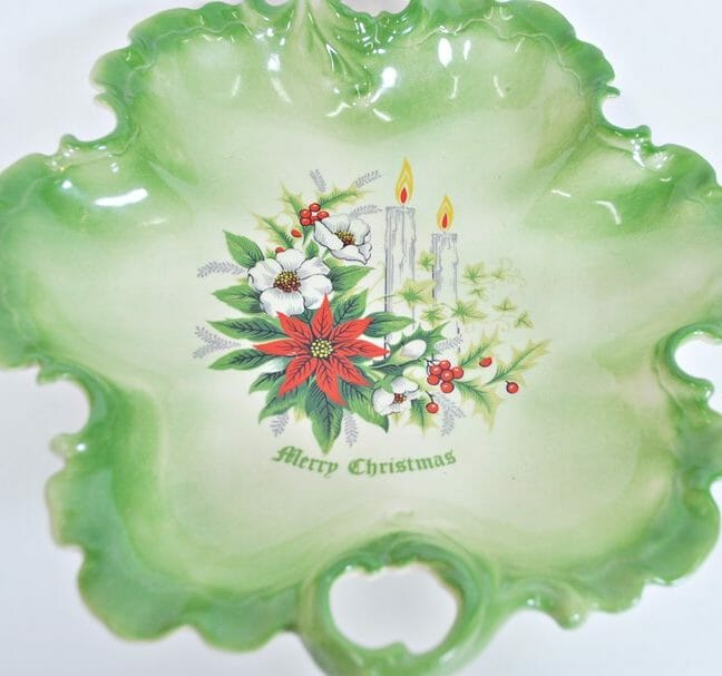 Vintage Christmas Bowl with Poinsettias and Candles