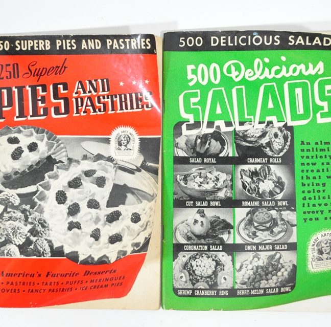 2 Culinary Arts Institute Cookbooks from the early 1940's. Pies and Pastries and Salads