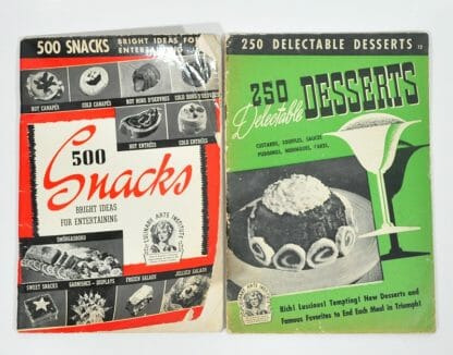 2 Culinary Arts Institute Cookbooks from the early 1940's. Snacks and Desserts