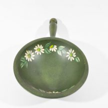 Vintage Nut Bowl Painted Green with White Daisies