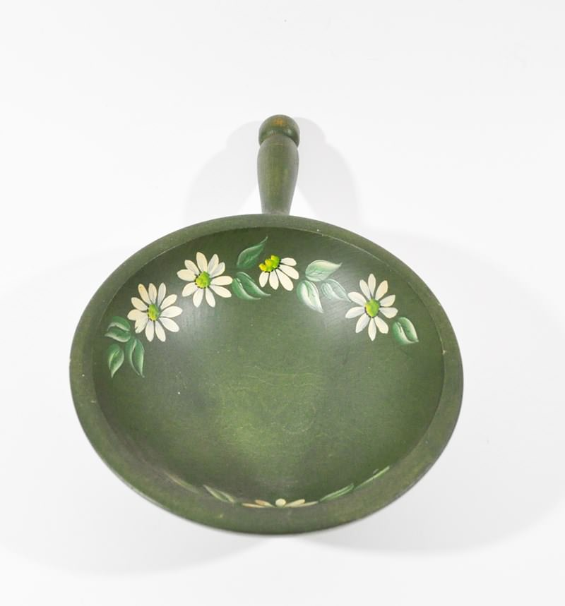 Vintage Nut Bowl Painted Green with Hand Painted Daisies by Woodcroftery