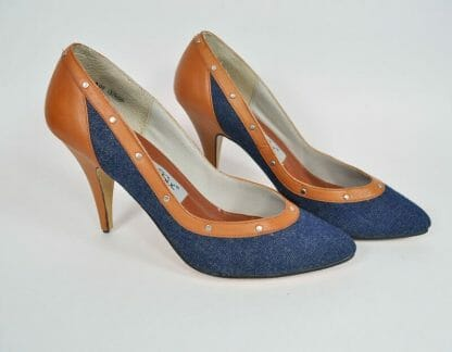 Vintage Studio Six Denim and Leather Studded Pumps Size 8