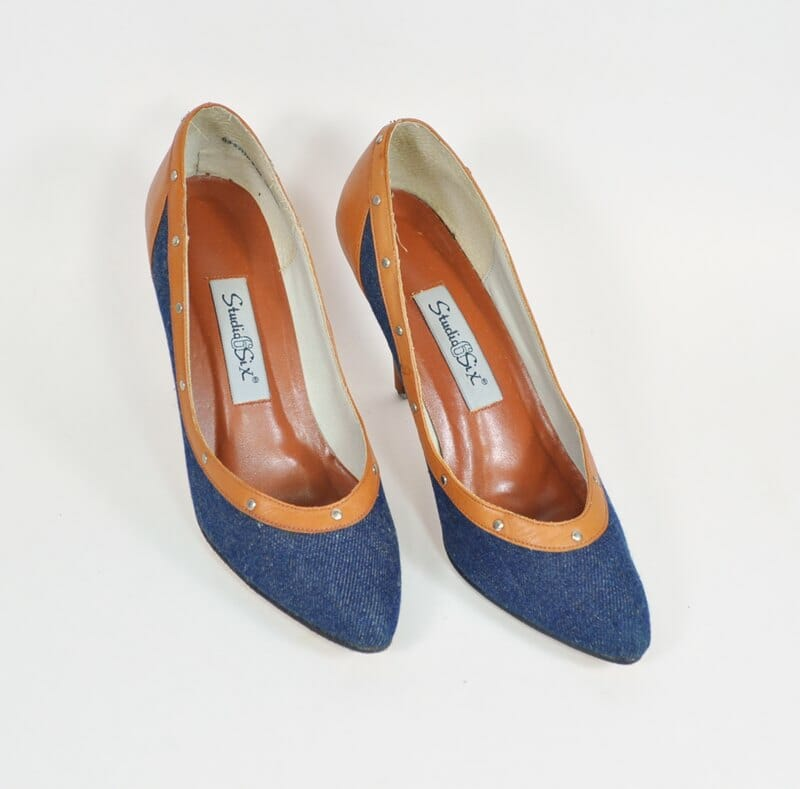Vintage Pumps Size 8 Denim and Leather 4 Inch Heels Studio Six – Denim and Leather Shoes