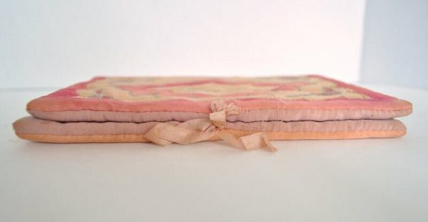 Side of antique silk hanky pouch