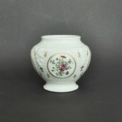 Small Haviland Limoges jar with pink and blue flowers
