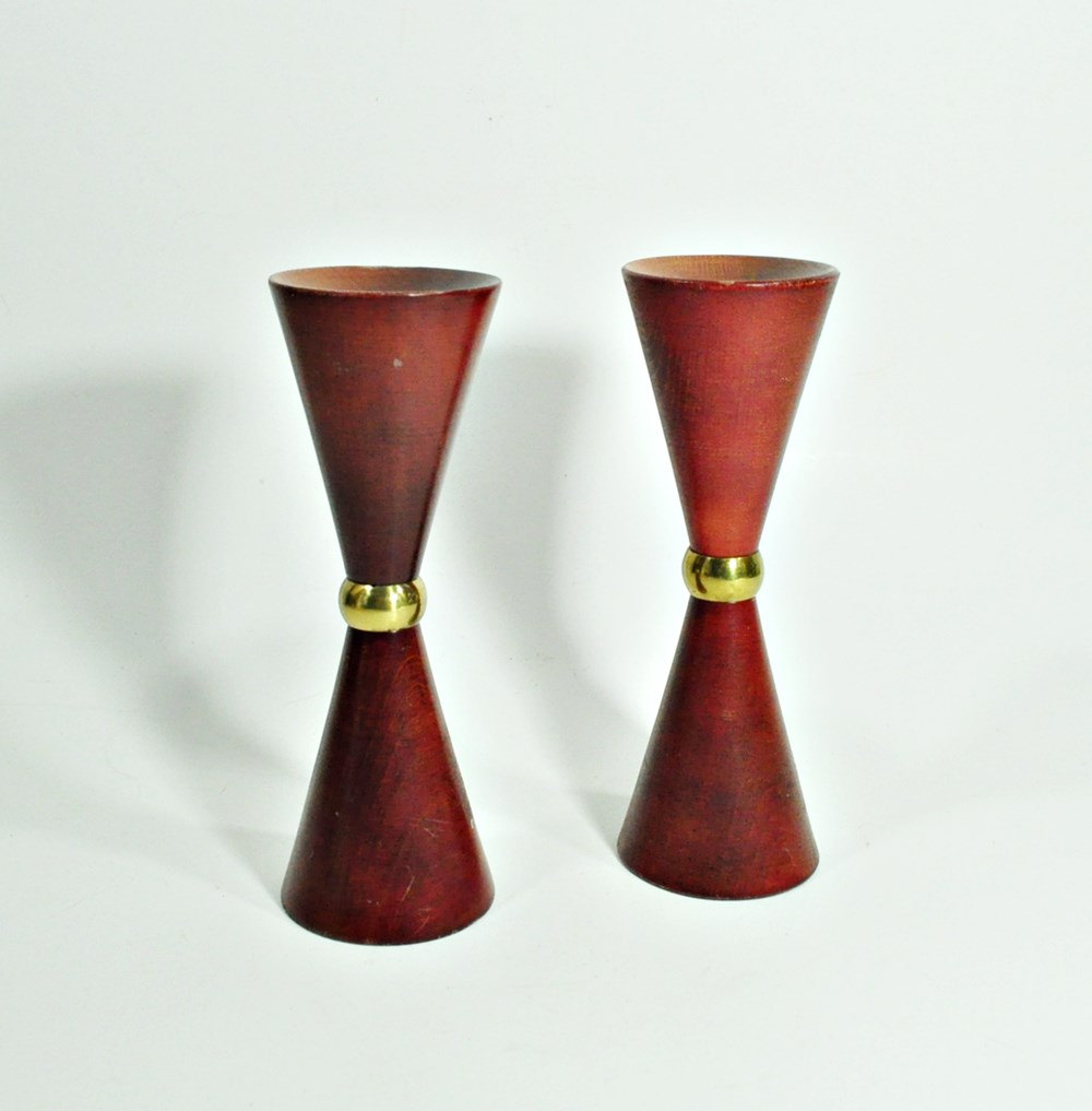 Mid Century Teak Candle Holders with Brass