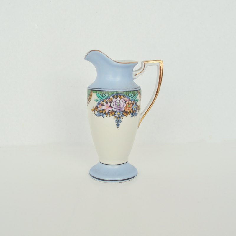 Noritake Creamer Art Deco Blue, Green and Cream with Pink Flowers