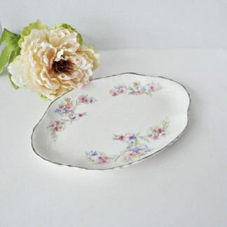Small platter with pink and blue flowers