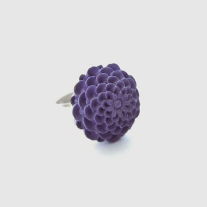 Handmade ring, a deep purple, eggplant colored, chrysanthemum on a silvertone adjustable base