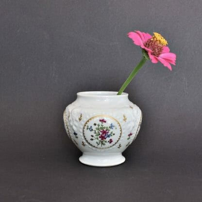 "Small 3"" tall Haviland Limoges jar with pink and blue flowers"
