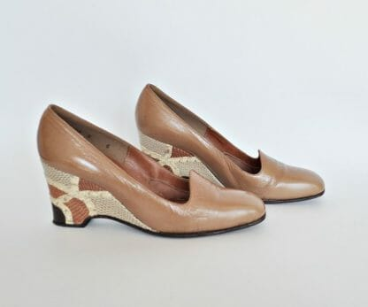 Vintage 1980's wedge heel shoes in size 6, Patchwork heels with patchwork design in varying shades of brown with a snakeskin look. By Mr. Seymour.