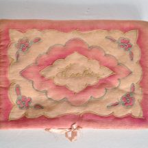 Pink antique silk hanky pouch