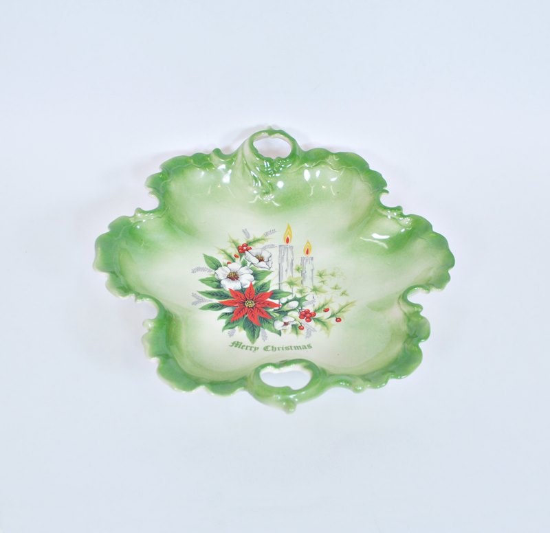 Poinsettias Vintage Christmas Bowl Hand Made Ceramic