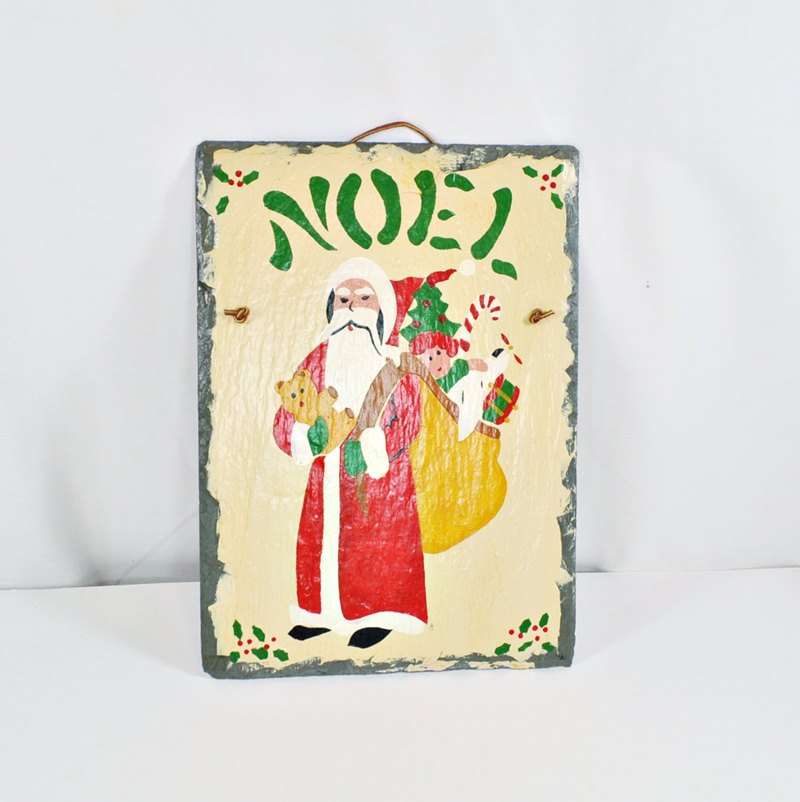 Vintage Christmas Decoration On Slate Of Santa With His Pack and Noel from Cape Cod Stencils