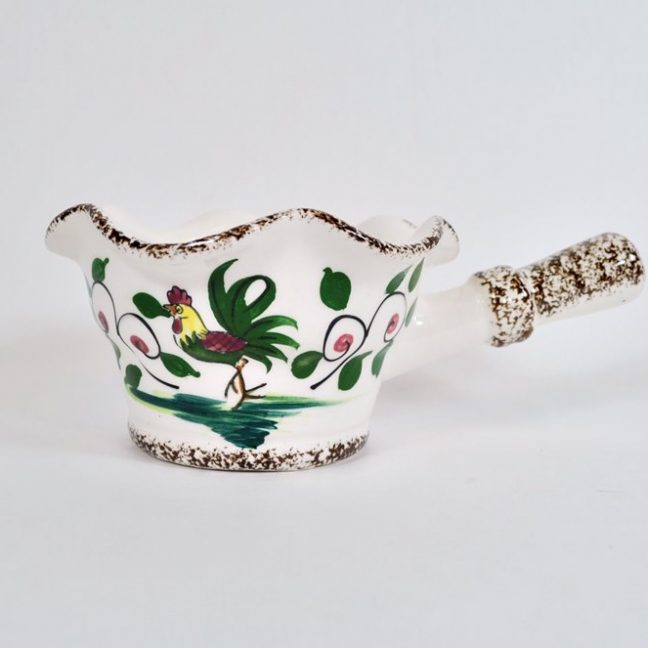 Rooster and flowers gravy boat