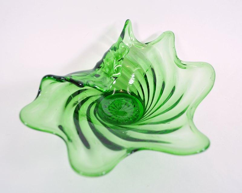 Green swirl candy dish in amoeba shape