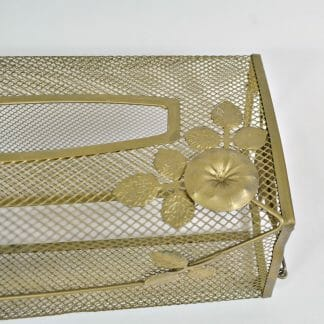 Vintage morning glory tissue box cover in gold-tone metal