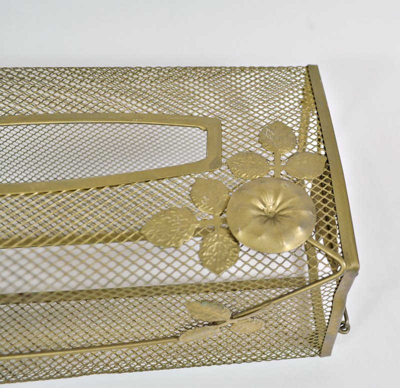 Vintage Morning Glory Long Tissue Box Cover Gold Mesh