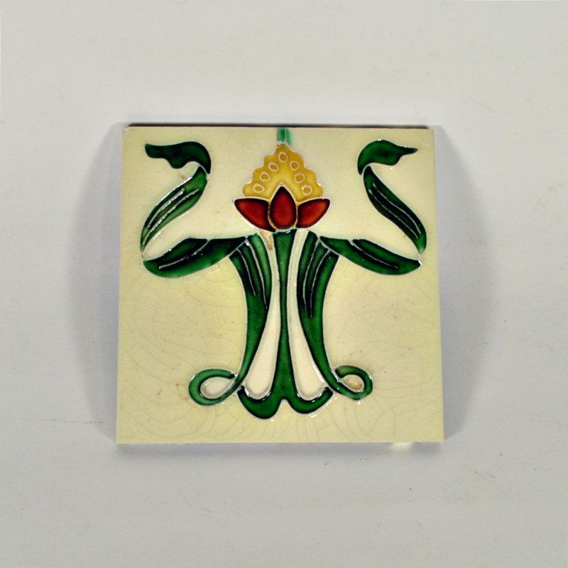 Antique Art Nouveau Tile – Graceful Flower