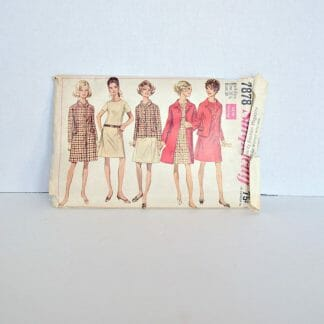 "1960's A-line dress and coat pattern - Simplicity 7878 - 39"" bust"