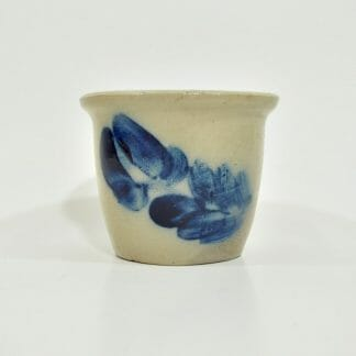 Stoneware custard cup with cobalt decoration