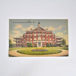 Vintage linen postcard of St. Vincent's Hospital in Birmingham, Alabama