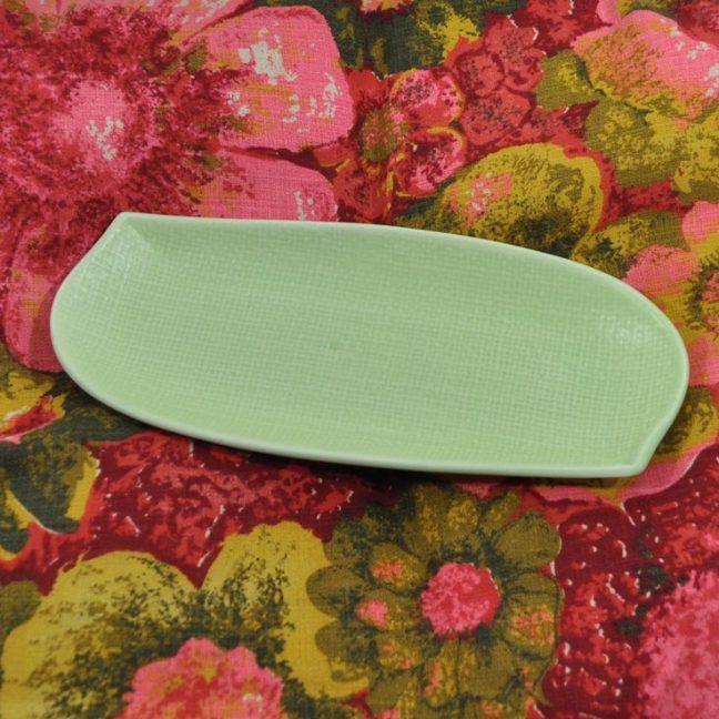 "Spring green, MCM, 9"" long pottery dish. Danish modern style"