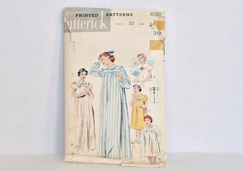 1950s Nightgown Pattern Bust 32 Long or Short with Puff Sleeves Butterick 6315 Cut