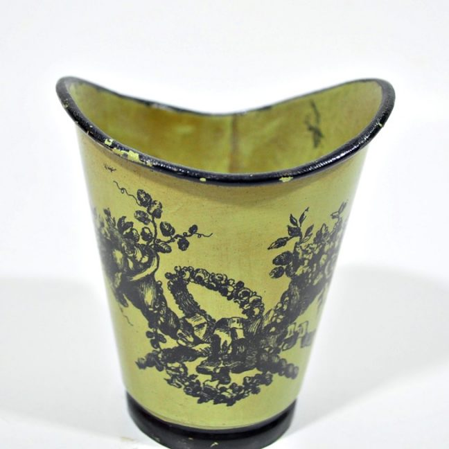Vintage Italian decor - cup or vase, avocado with black trim and decal