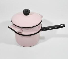 Pink enamelware double boiler