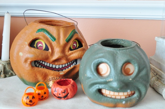 Paper mache Halloween pumpkin buckets