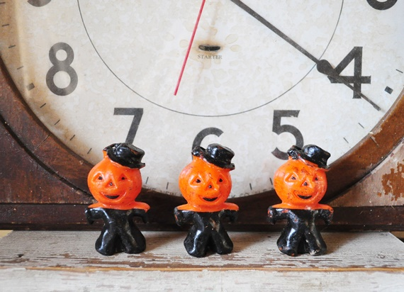 Vintage Halloween pumpkin head men candles