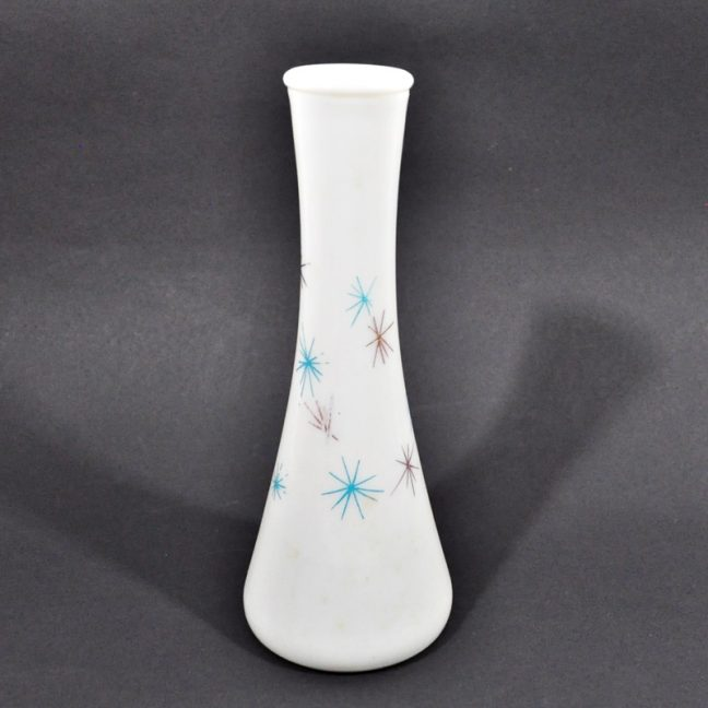 Mid century starburst milk glass vase