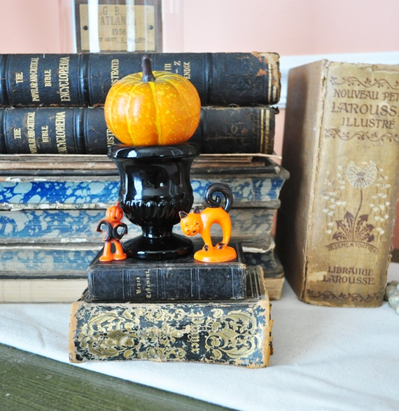 Tiny, vintage Halloween decorations.