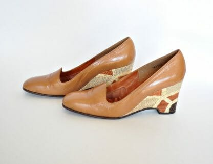 1980's wedge heel shoes with snakeskin look patchwork heels in size 6. Browns and tans. By Mr. Seymour.