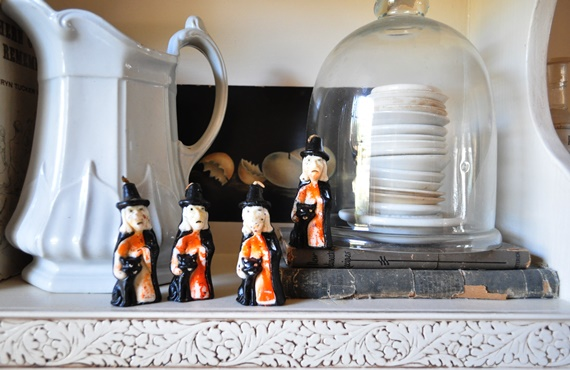 Collection of vintage Halloween witch candles.