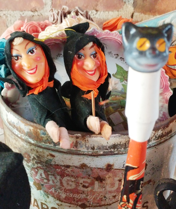 Vintage witch Halloween decorations