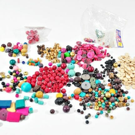 Wood Bead Lot - Mixed Sizes and Colors