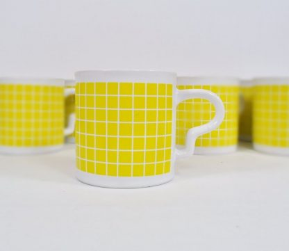 Vintage yellow check mugs