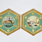 Pair of Large Florentine Pictures - Italian Wall Decor - Canals of Italy