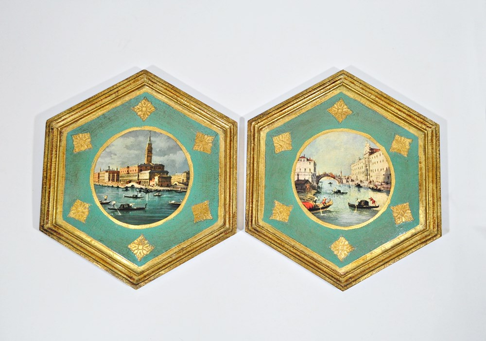 Pair of Large Florentine Pictures – Italian Wall Decor – Canals of Italy
