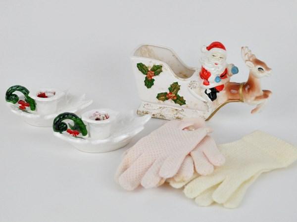 Christmas candles and Santa planter