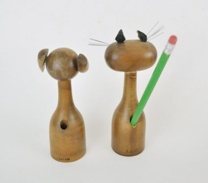 Mid century dog and cat wood pencil holders