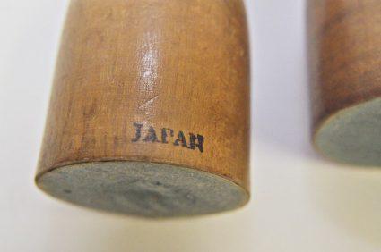 Japan mark on mid century dog and cat wood pencil holders