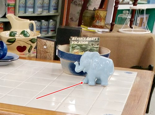 Blue pottery elephant planter
