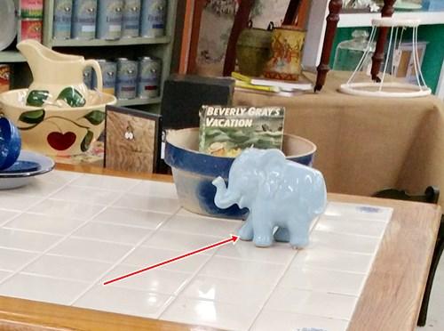Blue pottery elephant planter