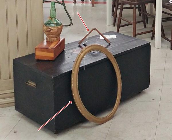 Antique oval frame and folding ruler