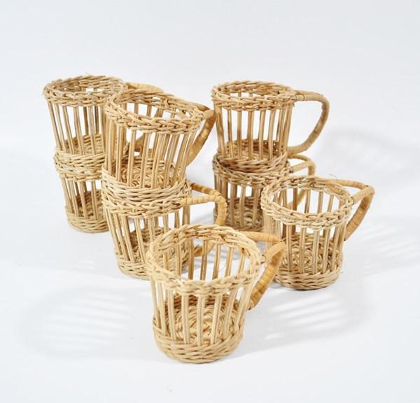 Vintage rattan cup holders